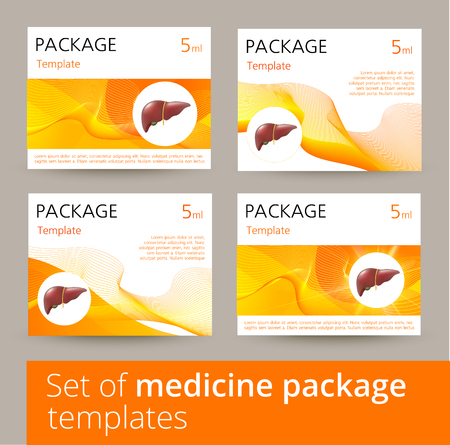 Medicine package template design with realistic human liver. Vector illustration.