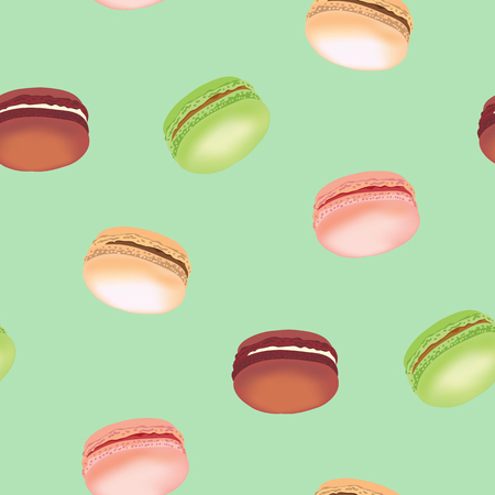 Seamless pattern with realistic colorful macaroon cookies. Vector illustration.