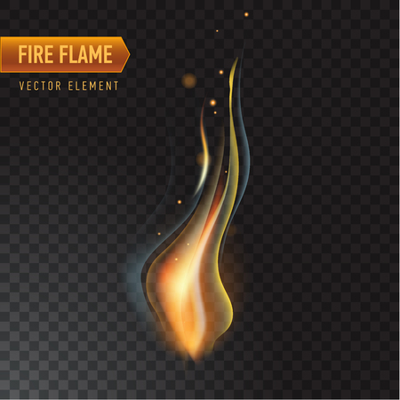 Realistic burning fire flame, vector effect with transparency.