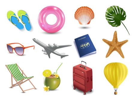 Realistische vakantie van de de zomervakantie kuststrandpictogrammen geplaatst geïsoleerde vectorillustratie. Reis embleem.