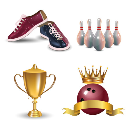 Realistic bowling icon set isolated on white background. Bowling strike with ball. Vector illustration. Vectores
