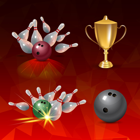 Realistic bowling icon set isolated on red triangular background. Bowling strike with ball. Vector illustration.
