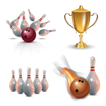 Realistic bowling icon set isolated on white background. Bowling strike with ball vector illustration.