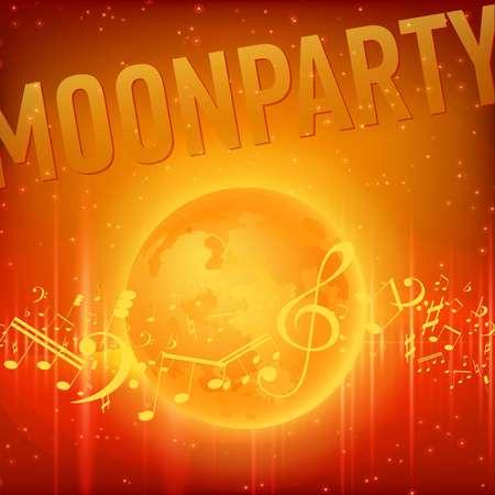Red Moon Beach Party Flyer. Vector Design EPS 10
