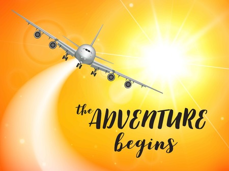 Realistic poster white Airplane flying in the sky with yellow bottom abstract background vector illustration Illustration