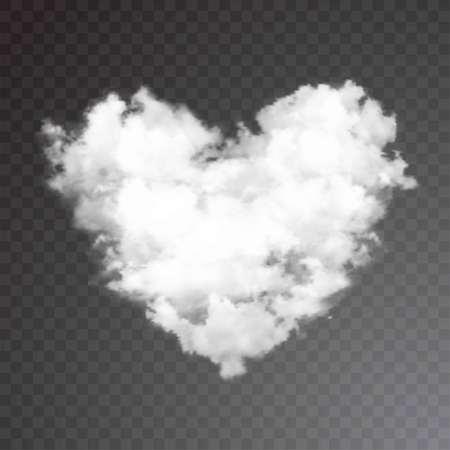 Realistic vector cloud heart on beautiful blue sky with sun. Flare, sunshine. Vector illustration.  イラスト・ベクター素材