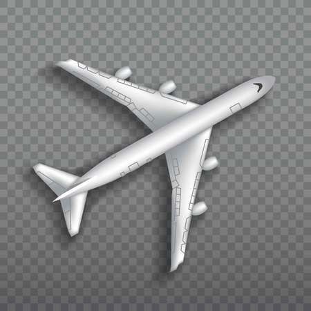 Flying airplane, jet aircraft, airliner. Top view of detailed realistic passenger air plane isolated on transparent background. Vectores