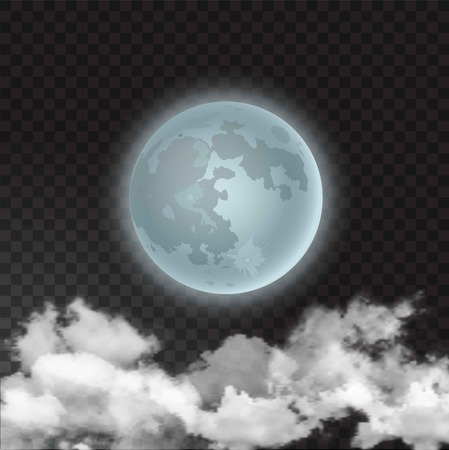 Vector illustration of moon skyscape with realistic night moon and few clouds floats isolated on transparent background