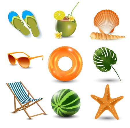 vector illustration of Realistic summer holidays seaside beach icons set isolated Illustration