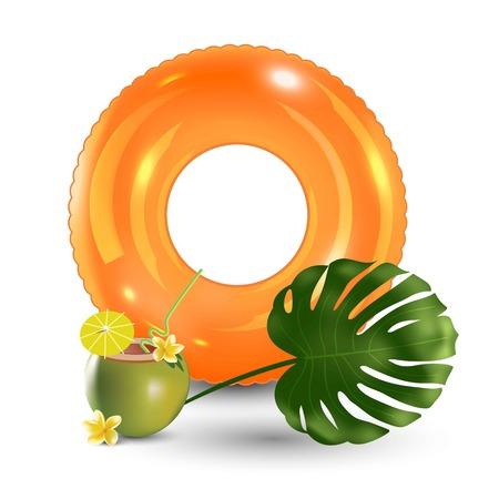 Travelling tourism holiday time illustration swim ring, palm leaf cocktail white background, paradise resort concept