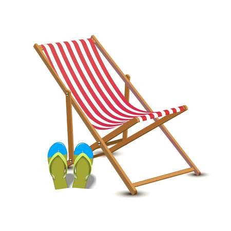 Travelling tourism holiday time illustration sun lounger, flip flops, on white background, paradise resort seaside concept. Vectores
