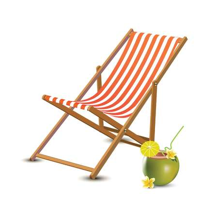 Summer vacation, beach party realistic 3d objects isolated. Travelling tourism holiday time illustration sun lounger, coconut cocktail on white background, paradise resort seaside concept