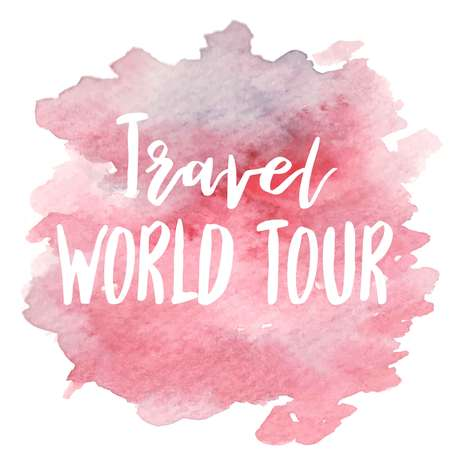 Hand drawn vivid illustration stylized as a watercolor spot augmented with sketchy wild flowers and a motivational inscription. Inspiration, travel, lifestyle themes, design element. Çizim