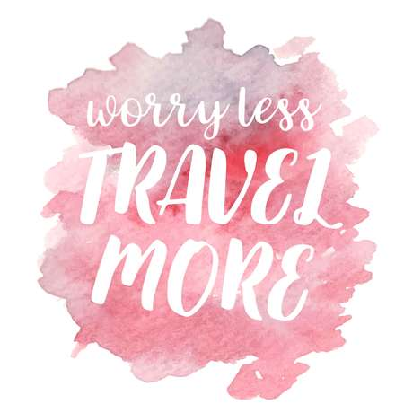 Hand drawn vivid illustration stylized as a watercolor spot augmented with sketchy wild flowers and a motivational inscription. Inspiration, travel, lifestyle themes, design element. Иллюстрация