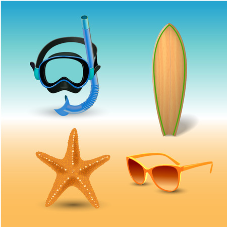 Beach icons sets isolated illustration.