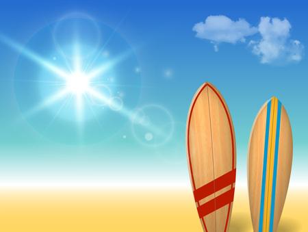 Holidays vintage design - surfboards on a beach against a sunny seascape. Vector illustration.