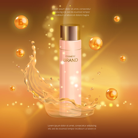 Digital vector collagen oil essence mockup on, with your brand, ready for print ads or magazine design. Illustration