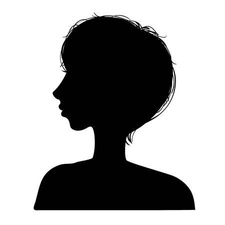 Vector illustration of a silhouettes head girls Stock Vector - 98514176