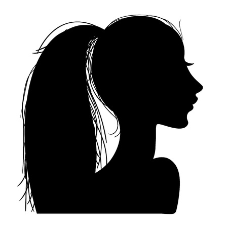 Vector illustration of a silhouettes head girls Stock Vector - 98514178