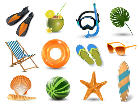 Icons set illustrations of watermelon, chair, starfish, slippers and glasses elememts