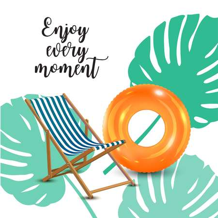 Enjoy every moment poster concept illustration with a chair and ring floater