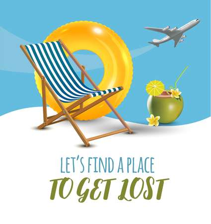 Lets find a place to get lost lettering on a poster with an airplane flying.
