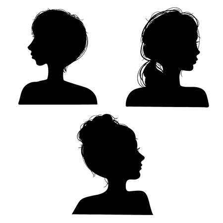 Vector illustration of a silhouettes head girls