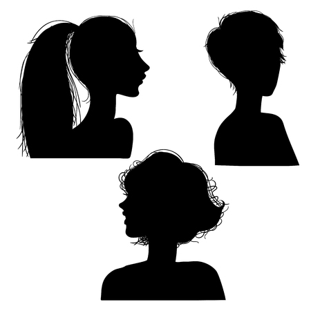 Vector illustration of a silhouettes head girls Stock Vector - 98627593