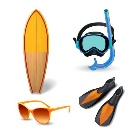 Realistic summer holidays seaside beach icons set isolated vector illustration