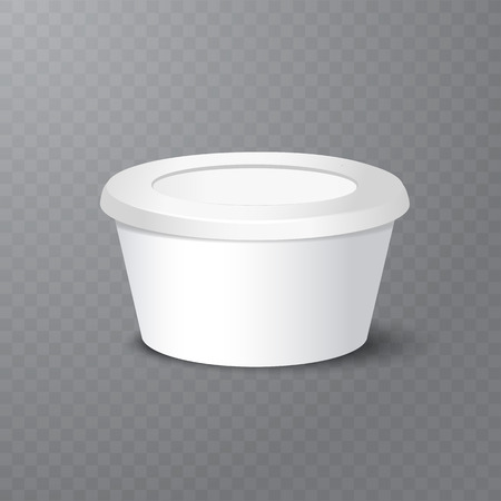 Vector realistic yogurt, ice cream or sour creme package on white backgrounnd. 3D illustration. Mock up of container isolated. Template for your design. Side view. Diminishing perspective
