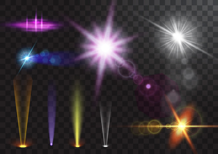 Vector light sources, concert lighting, stage spotlights set. Concert spotlight with beam, illuminated spotlights for web design illustration Vectores