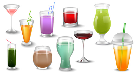 Set of different drinks and cocktails. Isolated on white vector illustration.