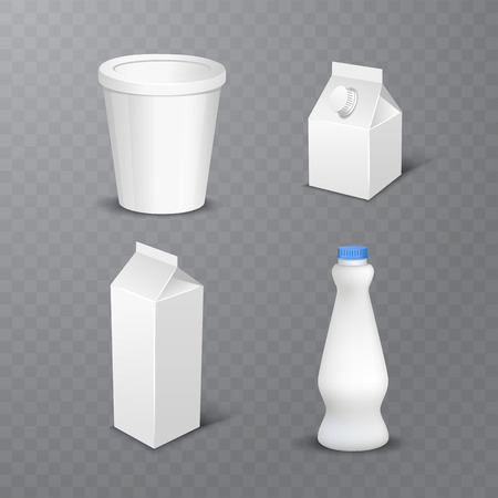 vector illustration of Set of white blank realistic dairy packaging including plastic bottles and carton packets isolated on transparent background