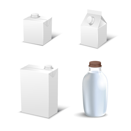 Set of white blank realistic dairy packaging including plastic bottles and carton packets isolated vector illustration.