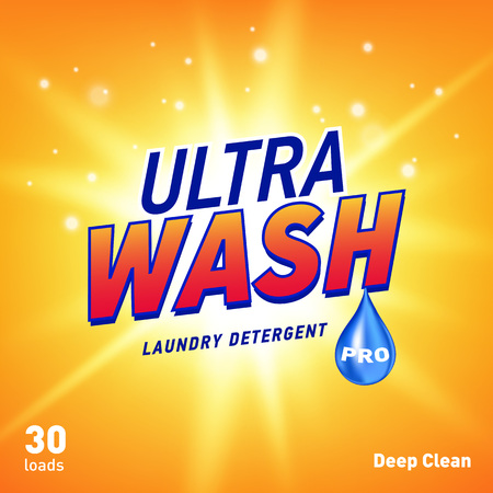 detergent advertising concept design for product packaging in yellow orange color. Vector illustration