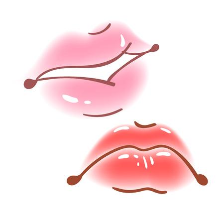 Colorful fun set of female lips