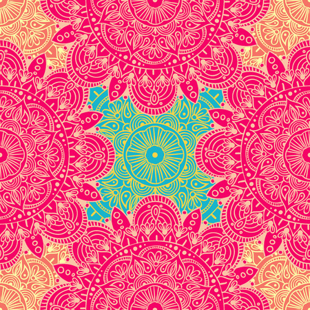 Seamless ethnic pattern with floral motives. Mandala stylized print template for fabric and paper. Boho chic design.