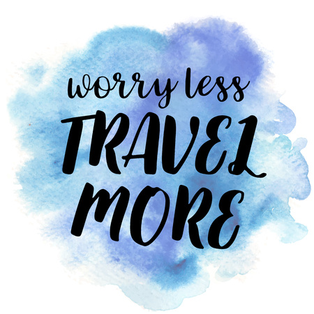 Hand drawn vivid illustration stylized as a watercolor spot augmented with sketchy wild flowers and a motivational inscription. Inspiration, travel, lifestyle themes, design element. Illusztráció