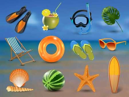 vector illustration of Realistic summer holidays seaside beach icons set isolated on seaside background