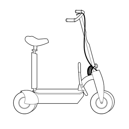 Electric Scooter line icon, Wheel Scooter Illustration