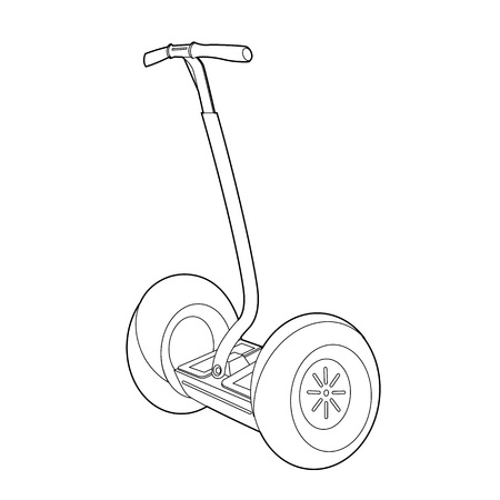 vector icon for web. Two wheeled electric vehicle icon. Outline illustration of two wheeled electric vehicle