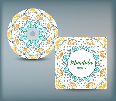 CD cover design template with floral mandala style. Arabic, indian, pakistan, asian motif. Vector illustration. Illustration