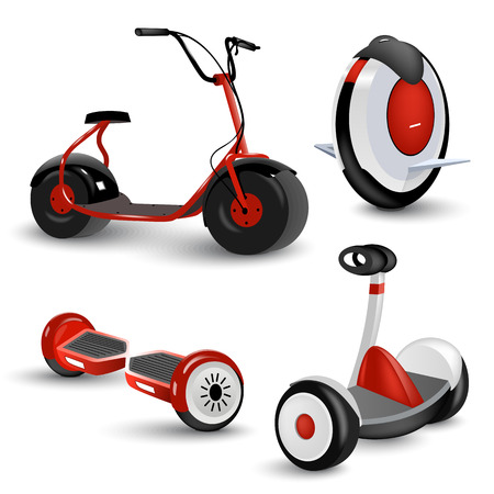 Realistic self-balancing gyro two-wheeled board scooter or hoverboard 3 colorful sets transparent background vector illustration