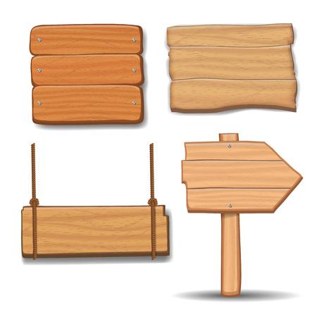 Wooden signboards, vector wood arrow sign billboard set.