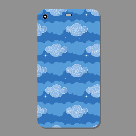 Cute blue clouds collection illustration on a phone case back. Vector illustration