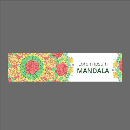 Vector banner set with floral ornament. Rose, tulip, leaf. Circular ornament.