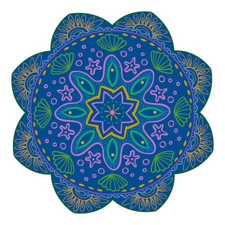 Mandala Vector Design Element. Round ornament decoration. Colorful flower pattern. Stylized floral motif. Complex flourish weave medallion. Tattoo print 스톡 콘텐츠 - 102928539