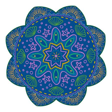 Mandala Vector Design Element. Round ornament decoration. Colorful flower pattern. Stylized floral motif. Complex flourish weave medallion. Tattoo print