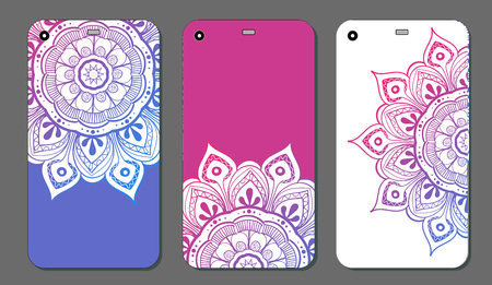 Phone case mandala design set. Vintage decorative elements. Hand drawn background. Islam, Arabic, Indian, ottoman motifs Vectores