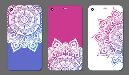 Phone case mandala design set. Vintage decorative elements. Hand drawn background. Islam, Arabic, Indian, ottoman motifs Illustration
